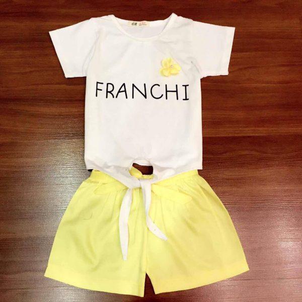 Set đồ thun cotton Franchi quần màu vàng cho bé